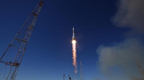 Le lanceur Soyouz MS-10 lors de son décollage le 11 octobre 2018.