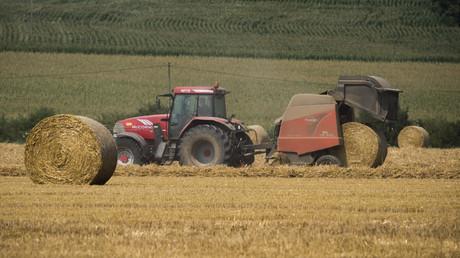 Tracteur dans un champ de blé près de Saint-Philbert-sur-Risle (Eure) en France, en juillet 2018 (illustration).