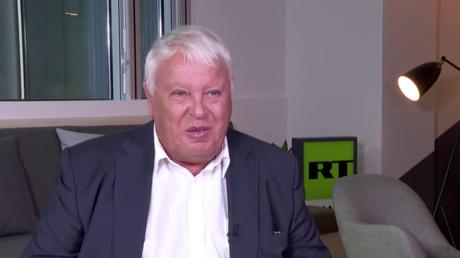 Gérard Filoche le 12 octobre 2018 dans les locaux de RT France.