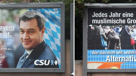 Affiches électorales de la CSU (conservateurs) et de l'AfD (anti-immigration), pour les élections bavaroises du 14 octobre (image d'illustration).