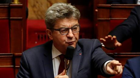 Jean-Luc Mélenchon durant une session de questions au gouvernement à l'Assemblée nationale, le 16 octobre