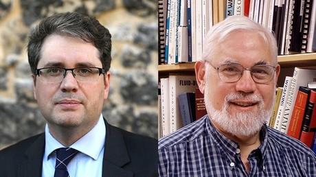 A gauche : Eliot Higgins, fondateur du site d'investigation Bellingcat ;  à droite : le professeur au MIT Theodore Postol.