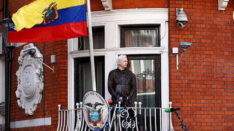 Julian Assange au balcon de l'ambassade d'Equateur à Londres, le 19 mai 2017 (image d'illustration).