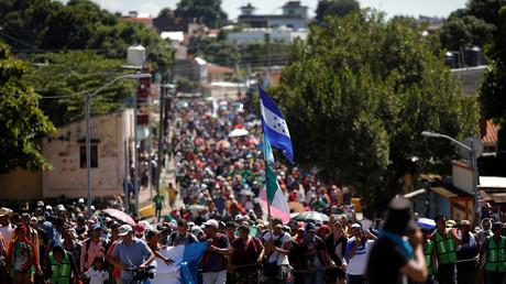 Des migrants d'Amérique centrale en route pour les Etats-Unis, à Tapachula au Mexique, le 23 octobre.
