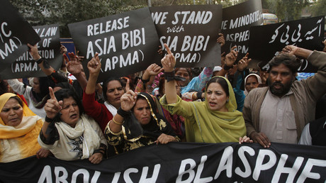 Des manifestants demandent la libération d'Asia Bibi à Lahore au Pakistan, en novembre 2010 (image d'illustration).