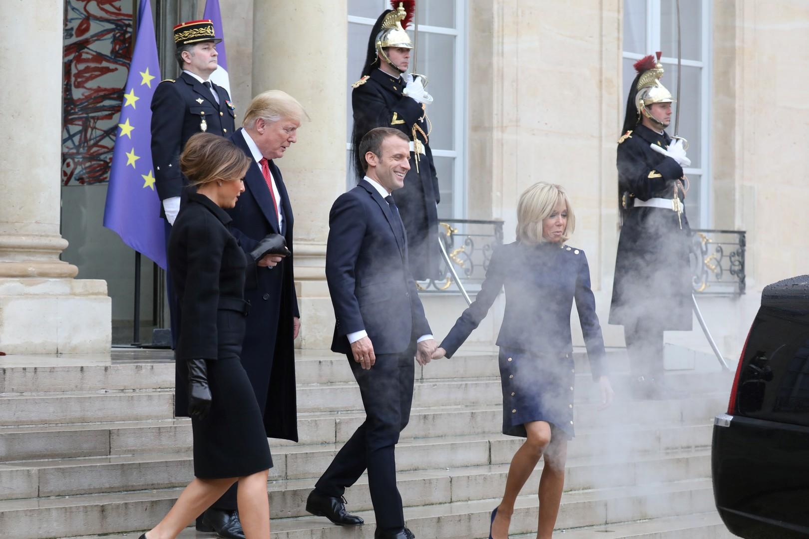 Vous avez dit écologie ? A l'Elysée, la limousine de Trump enfume les Macron (PHOTOS)
