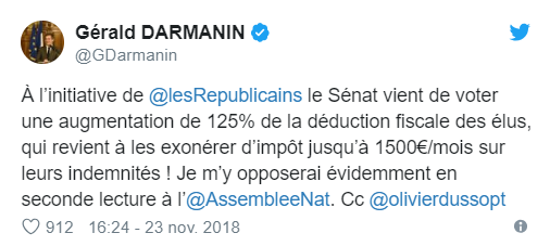 «Fake news ministérielle» : exigeant que Darmanin retire un tweet, le Sénat bloque le vote du budget
