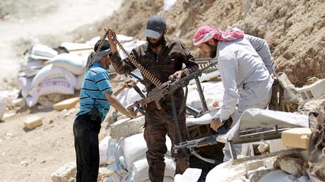 Rebelles syriens près d'Idleb.