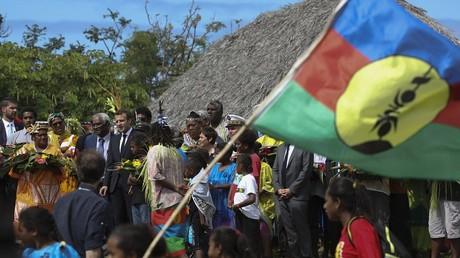 Emmanuel Macron lors de sa visite en Nouvelle-Calédonie, le 5 mai.