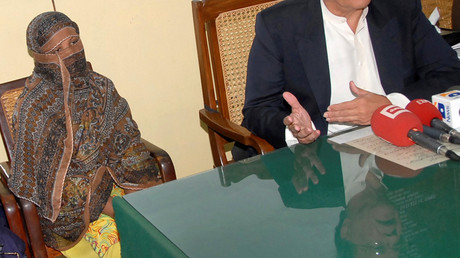 Asia Bibi lors d'une conférence de presse dans la prison de la province de Punjab au Pakistan, en 2010.