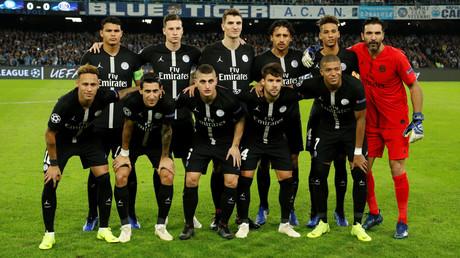 L'équipe du Paris Saint-Germain durant le match de Ligue des champions du  6 novembre.