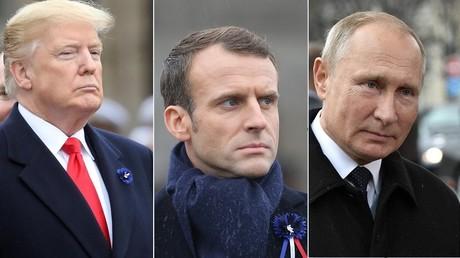 Donald Trump, Emmanuel Macron et Vladimir Poutine.