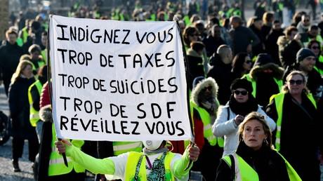 Les Gilets jaunes à Paris lors de la manifestation du 17 novembre