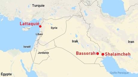 Photomontage à partir d'une capture d'écran Google Maps (Syrie, Irak, Iran).
