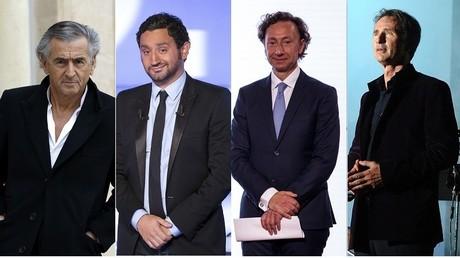 De gauche à droite : Bernard-Henri Levy, Cyril Hanouna, Stéphane Bern et Thierry Lhermitte