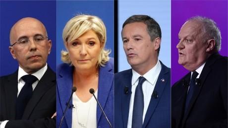 Eric Ciotti (LR), Marine Le Pen (RN), Nicolas Dupont-Aignan (DLF) et François Asselineau (UPR)
