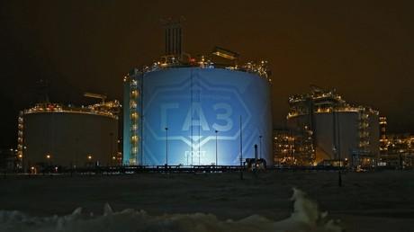 Vue du site géant de liquéfaction de Gaz Yamal LNG dans l'Arctique exploité par le groupe russe Novatek en partenariat avec Total.