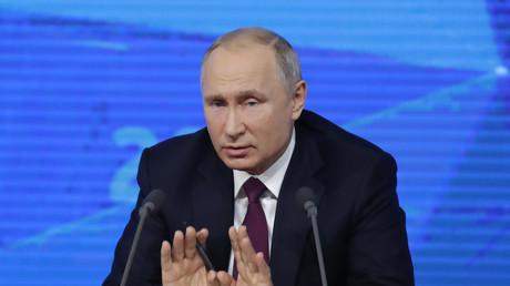 Vladimir Poutine, lors de sa conférence de presse annuelle, à Moscou, le 20 décembre 2018.