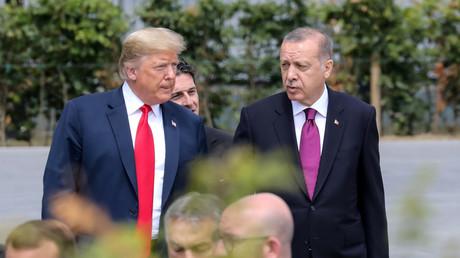 Donald Trump et Recep Tayyip Erdogan le 11 juillet 2018 à Bruxelles (image d'illustration).