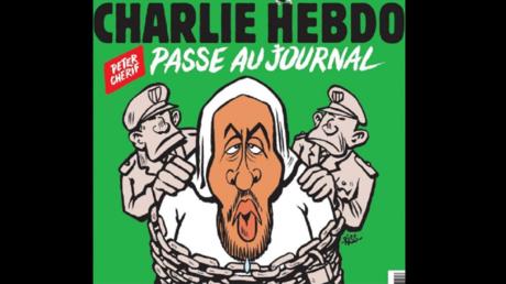 Une de Charlie Hebdo représentant une caricature de Peter Cherif