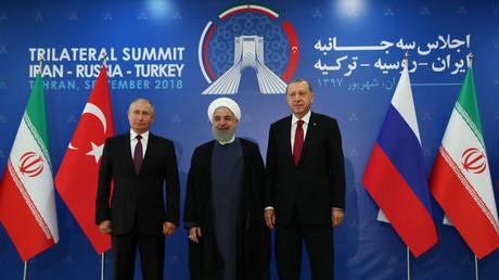 Vladimir Poutine, Hassan Rohani et Recep Tayyip Erdogan à Téhéran le 7 septembre 2018.