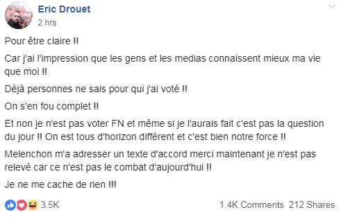 Non, Eric Drouet ne revendique pas avoir voté pour Marine Le Pen en 2017