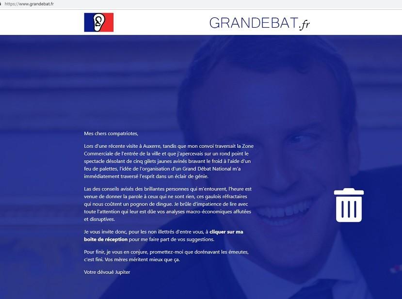 Le site du grand débat national plusieurs fois parodié