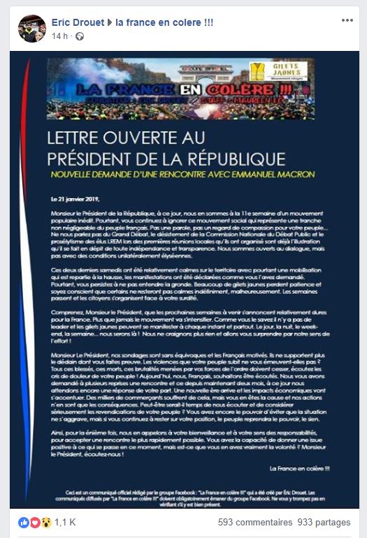 Drouet et son collectif dénoncent la «surdité» de Macron et demandent à être reçus à l'Elysée