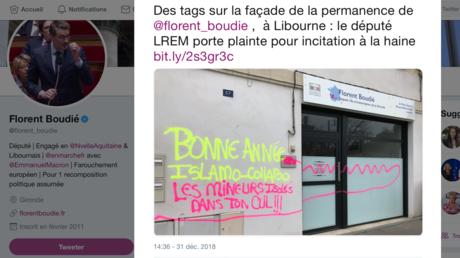 Capture d'écran du compte Twitter du député LREM de Gironde Florent Boudié