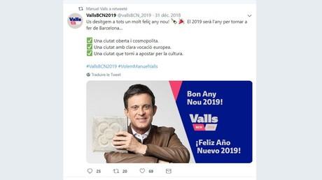 «Dignité détruite» : les internautes raillent le surprenant visuel de Manuel Valls pour le Nouvel An