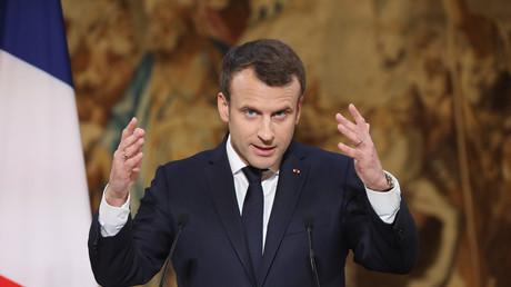 Emmanuel Macron lors de ses vœux à la presse à l'Elysée, le 3 janvier 2018 (image d'illustration).