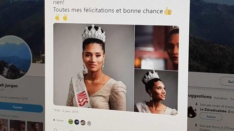 Capture d'écran d'une photo de Miss Algérie 2019 publié sur Twitter.