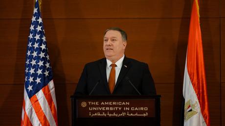 Mike Pompeo prononce un discours à l'Université américaine du Caire, le 10 janvier 2019.