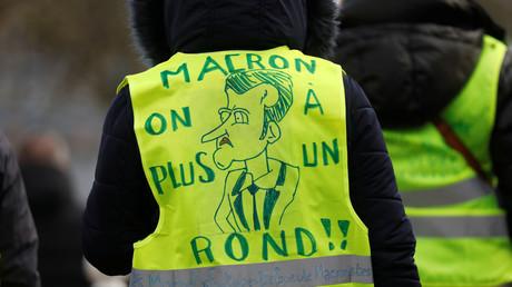 Un Gilet jaune venu accueillir Emmanuel Macron à Créteil le 9 janvier 2019 (image d'illustration).