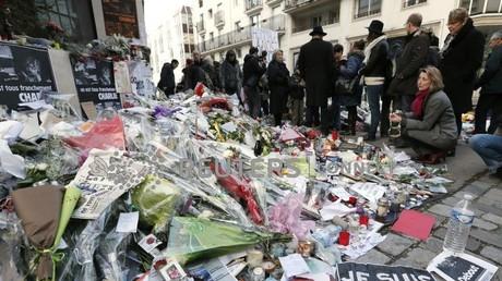 Le 14 janvier 2015 à Paris, hommages aux victimes de l'attentat de Charlie Hebdo, survenu le 7 janvier 2015.