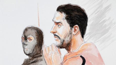 Un dessinateur de la cour représente Mehdi Nemmouche lors de son procès, au Palais de justice de Bruxelles, le 10 janvier 2019.