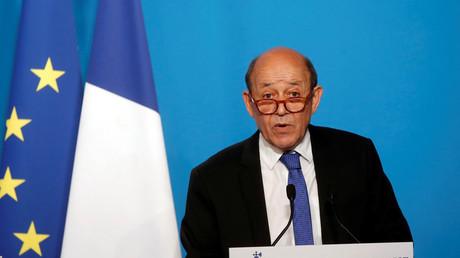 Jean-Yves Le Drian en conférence de presse à l'Elysée, le 14 avril 2018, (illustration).