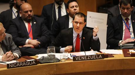 Le ministre des Affaires étrangères vénézuélien Jorge Arreaza, au Conseil de sécurité des Nations unies, le 26 janvier 2018.
