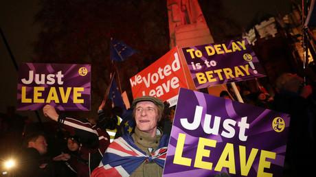 Des manifestants pro-Brexit devant le Parlement à Londres le 29 janvier (image d'illustration).