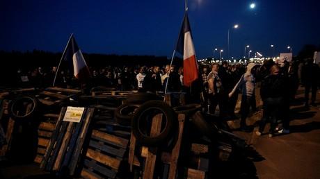 Une action de blocage à la prison de Fleury-Merogis le 10 avril 2017 (image d'illustration).