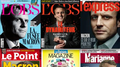 Montage photo de Unes de magazines consacrées à Emmanuel Macron en 2016.
