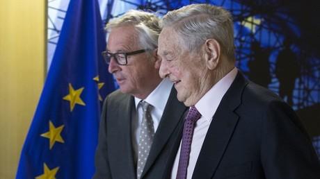 George Soros et Jean-Claude Juncker à Bruxelles en avril 2017.