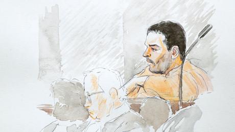 Représentation de Mehdi Nemmouche par un dessinateur de la cour lors de son procès au Palais de justice de Bruxelles, le 10 janvier 2019.