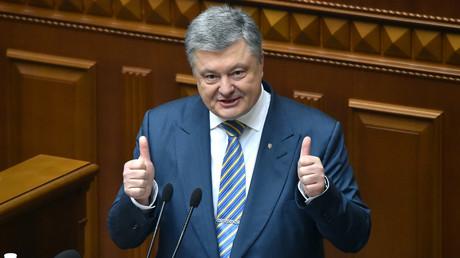 Le président ukrainien Petro Porochenko devant le parlement à Kiev, le 7 février 2019 (image d'illustration).