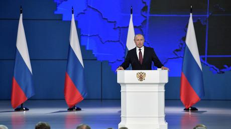 Le président russe Vladimir Poutine lors de son discours devant l'Assemblée fédérale à Moscou, le 20 février.