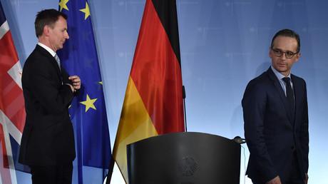 Le ministre des Affaires étrangères britannique Jeremy Hunt et son homologue allemand Heiko Maas lors d'une conférence de presse commune à Berlin, le 20 février 2019.