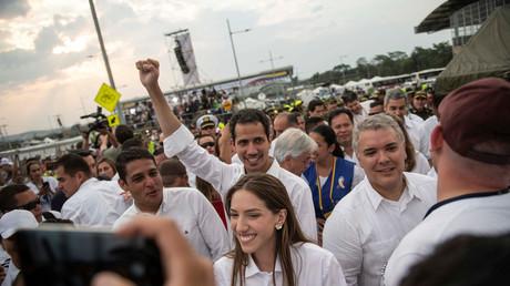 L'opposant pro-américain Juan Guaido lors d'un concert en soutien de l'opposition à Cucuta en Colombie, le 22 février (image d'illustration).