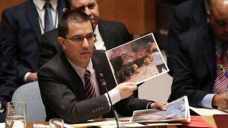Le ministre vénézuélien des Affaires étrangères au Conseil de sécurité de l'ONU, à New York, le 26 février 2019.