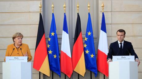 Angela Merkel et Emmanuel Macron à l'Elysée le 27 février.