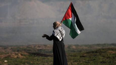 Une femme palestinienne porte un drapeau national lors d'une manifestation le long de la frontière avec Israël à l'est de la ville de Gaza, le 25 janvier 2019.